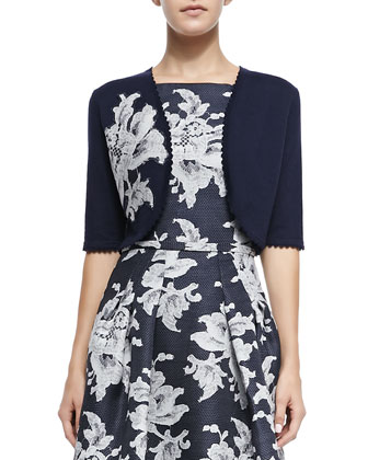 Lace Floral-Applique Knit Bolero & Large Lace-Print Gazaar Cocktail Dress