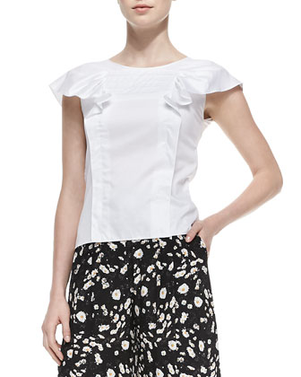 Ruffled Cap-Sleeve Poplin Blouse & Daisy-Print Wide-Leg Pants