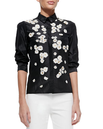 Daisy-Embroidered Button-Front Blouse