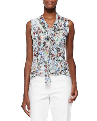 Botanical Floral-Print Tie-Front Blouse