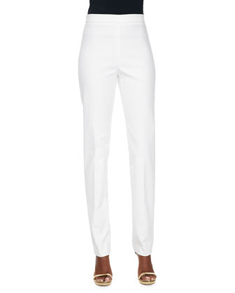 Daisy-Embroidered Button-Front Blouse & Stretch Cotton-Blend Skinny Pants