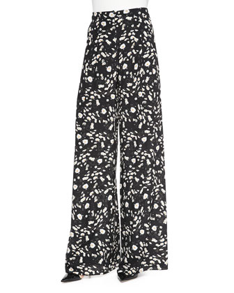 Daisy-Print Wide-Leg Pants
