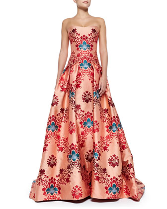 Brocade Jacquard Strapless Gown, Red/Multi