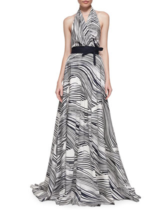 Wave-Striped Halter Gown
