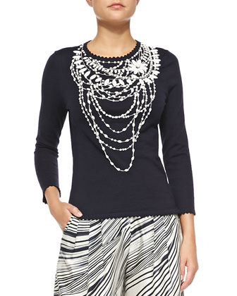 Crewneck Beaded Necklace Sweater