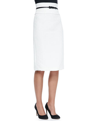 Textured Cotton-Blend Pencil Skirt