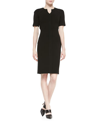 Half-Sleeve Stretch-Wool Sheath Dress