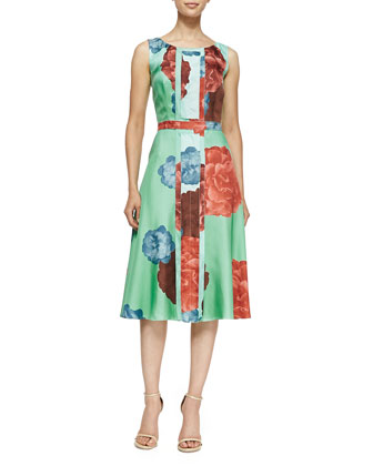 Carnation Floral Twill Silk Dress