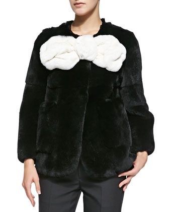 Rabbit Fur Jacket with Large Bow