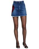 Denim Miniskirt W/ Heart Appliqué