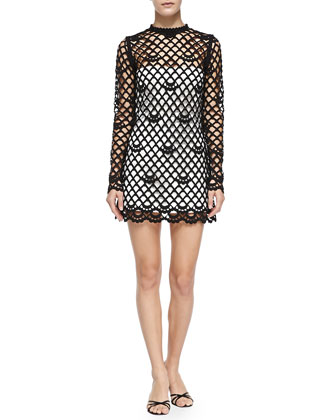 Guipure Lace Dress with Strapless Slip, Black/Ivory
