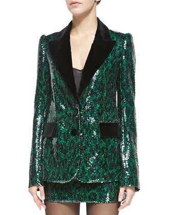 Sequined Leopard Two-Button Jacket