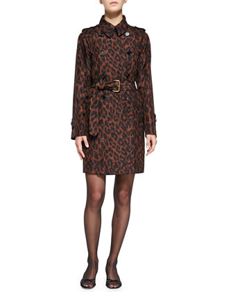 Leopard-Print Silk Trenchcoat & 3/4-Sleeve Leopard-Print Bow-Waist Sheath Dress