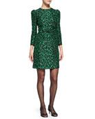 3/4-Sleeve Leopard-Print Bow-Waist Sheath Dress