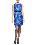 Floral-Print Silk Sheath Dress with Contrast Back