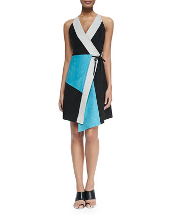 Sleeveless Leather Patchwork Dress