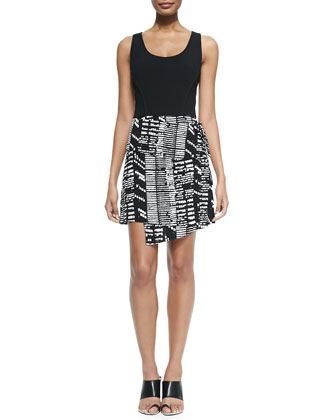 Sleeveless Dress W/ Asymmetric Print Skirt