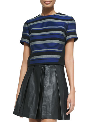 Stripe-Front Crewneck Crop Top