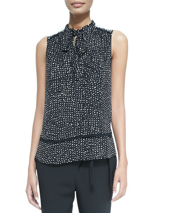 Sleeveless Tie-Neck Blouse, Black/White