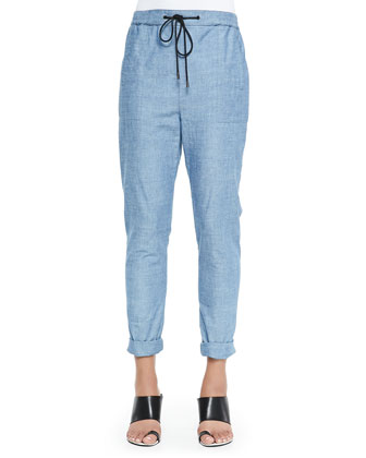 Loose Chambray Pants, Blue