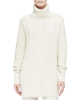 Cashmere Cable Long Cardigan with Detachable Fox Fur Collar, Sweaterdress & ...