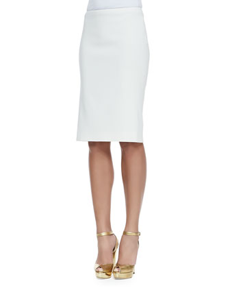 Marcella Open-Back Silk Blouse & Cindy Silk Pencil Skirt