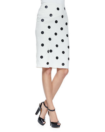 Polka Dot Leather Skirt, Cream
