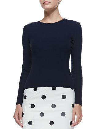 Cashmere Long-Sleeve Crewneck Sweater, Navy