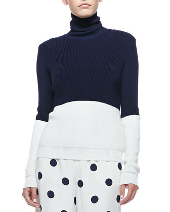 Colorblock Turtleneck Sweater, Navy/Cream