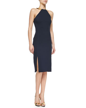 Silvia Embellished Halter Sheath Dress, Deep Navy