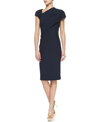 Sonya Side-Draped Sheath Dress, Deep Navy