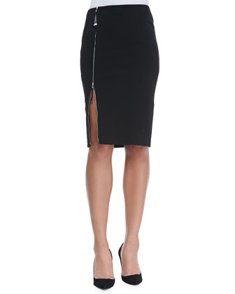 Winton Organza-Inset Tunic & Scarlette Jersey Skirt with Zip