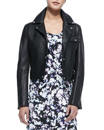 Leather Snap-Front Moto Jacket & Sleeveless Kaleidoscope Tie-Dye Dress