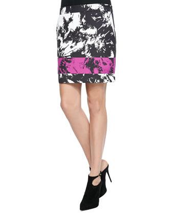 Tie-Dye Print Lambskin Top & Mini Skirt