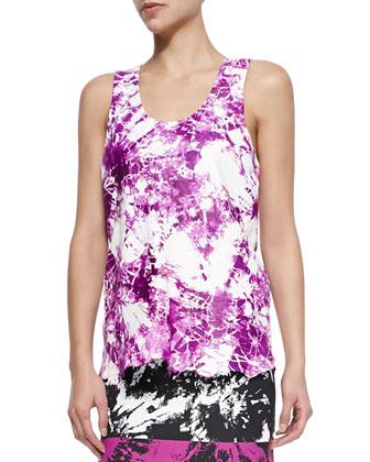 Tie-Dye Print Lambskin Top