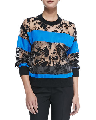 Semisheer Sweatshirt with Colorblock Stripes