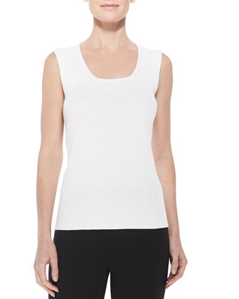 Scoop-Neck Ribbed-Knit Fine Gauge Tank Top, White