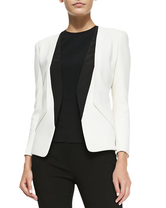 Collarless Blazer with Silk Inserts