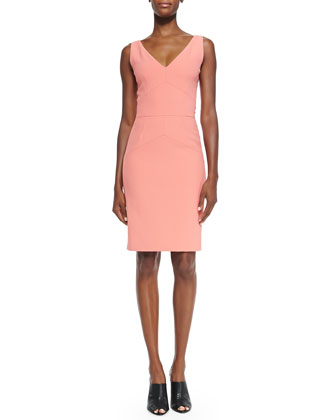 Sleeveless Bias-Seam Sheath Dress