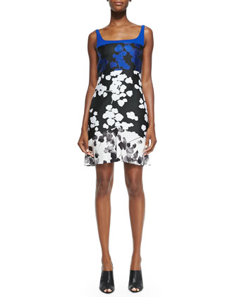 Scuba Jersey & Silk Floral-Print Dress