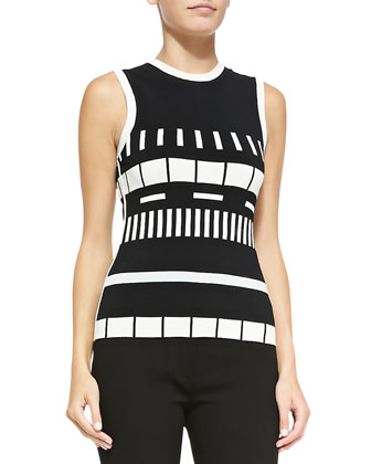 Sleeveless Reversible Graphic-Striped Top