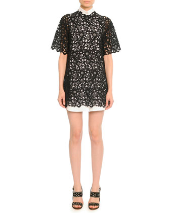 Short-Sleeve Guipure Lace Tunic/Dress, Black