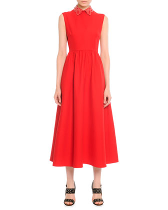 Leather-Collared Tea-Length Dress, Red