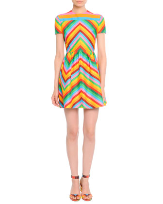 Cropped Wool-Cashmere Cape & Bright Chevron A-Line Dress