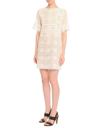 Embroidered Voile Shift Dress