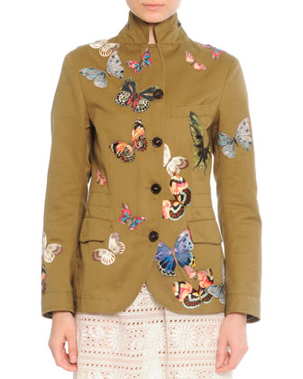Butterfly Embroidered Jacket & Embroidered Voile Shift Dress