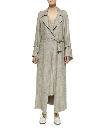Petal Self-Tie Linen Coat & Self-Tie Linen Dress