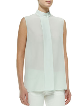 Front-Pleat Sleeveless Blouse
