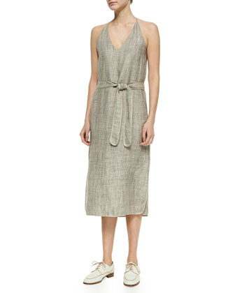 Self-Tie Linen Dress