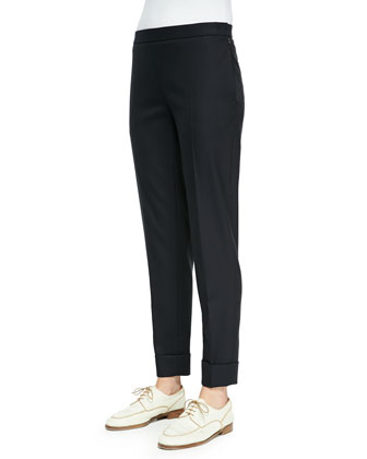 Large-Cuff Wool-Blend Skinny Pants